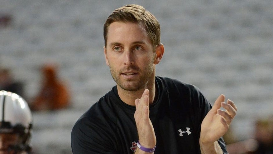 Nov 28, 2013; Austin, TX, USA; Texas Tech Red Raiders head coach Kliff Kingsbury prior to the game against the Texas Longhorns at Darrell K Royal-Texas Memorial Stadium. Mandatory Credit: Brendan Maloney-USA TODAY Sports