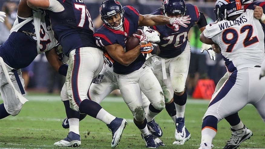 Aug 22, 2015; Houston, TX, USA; Houston Texans running back Jonathan Grimes (41) rushes during the second quarter against the Denver Broncos at NRG Stadium. Mandatory Credit: Troy Taormina-USA TODAY Sports