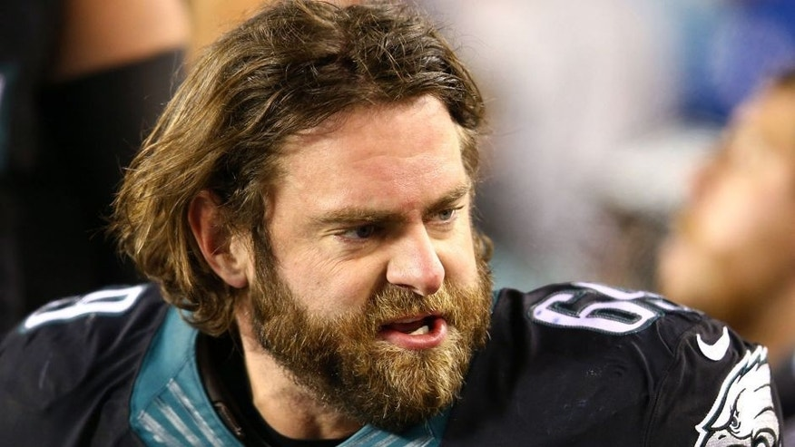 Dec 7, 2014; Philadelphia, PA, USA; Philadelphia Eagles guard Evan Mathis (69) on the sidelines against the Seattle Seahawks during the second half at Lincoln Financial Field. Mandatory Credit: Jeffrey G. Pittenger-USA TODAY Sports