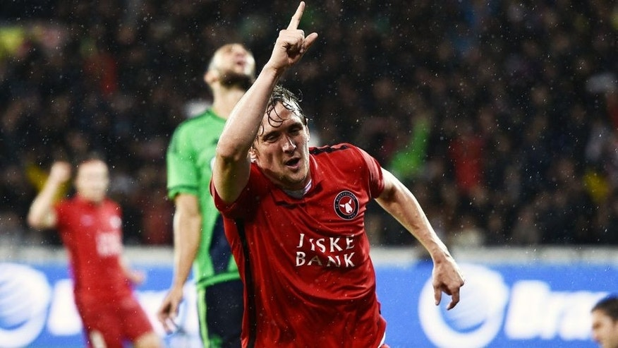 HERNING, DENMARK - AUGUST 27: Morten Duncan Rasmussen of FC Midtjylland celebrates after scoring the 1-0 goal during the UEFA Europa League match between FC Midtjylland and Southampton FC at MCH Arena on August 27, 2015 in Herning, Denmark. (Photo by Lars Ronbog / FrontZoneSport via Getty Images)