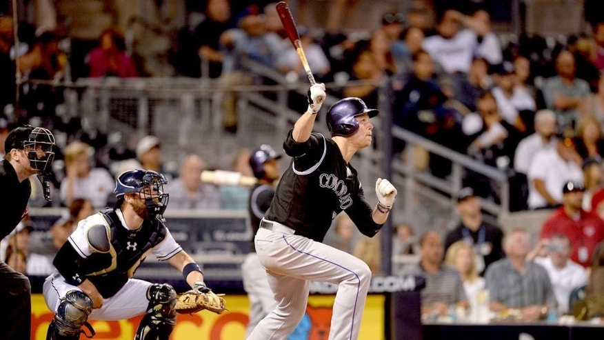 SAN DIEGO, CA - MAY 1: Justin Morneau #33 of the Colorado Rockies hits during the game against the San Diego Padres at Petco Park on May 1, 2015 in San Diego, California. (Photo by Andy Hayt/San Diego Padres/Getty Images)