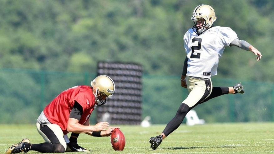 Aug 3, 2015; White Sulphur Springs, WV, USA; New Orleans Saints kicker Zach Hocker (2) attempts a field goal during training camp at The Greenbrier. Mandatory Credit: Michael Shroyer-USA TODAY Sports