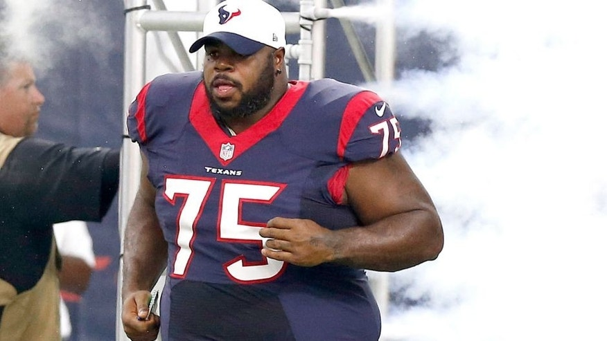 Aug 22, 2015; Houston, TX, USA; Houston Texans nose tackle Vince Wilfork (75) takes the field prior to the game against the Denver Broncos at NRG Stadium. Mandatory Credit: Matthew Emmons-USA TODAY Sports