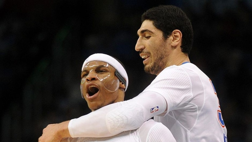 "<p style=""font-family: tahoma, arial, helvetica, sans-serif; font-size: 12px;"">Mar 8, 2015; Oklahoma City, OK, USA; Oklahoma City Thunder center Enes Kanter (34) hugs guard Russell Westbrook (0) after a play against the Toronto Raptors during the fourth quarter at Chesapeake Energy Arena. Mandatory Credit: Mark D. Smith-USA TODAY Sports</p>"