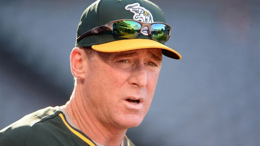 Aug 29, 2014; Anaheim, CA, USA; Oakland Athletics manager Bob Melvin before the game against the Los Angeles Angels at Angel Stadium of Anaheim. Mandatory Credit: Kirby Lee-USA TODAY Sports