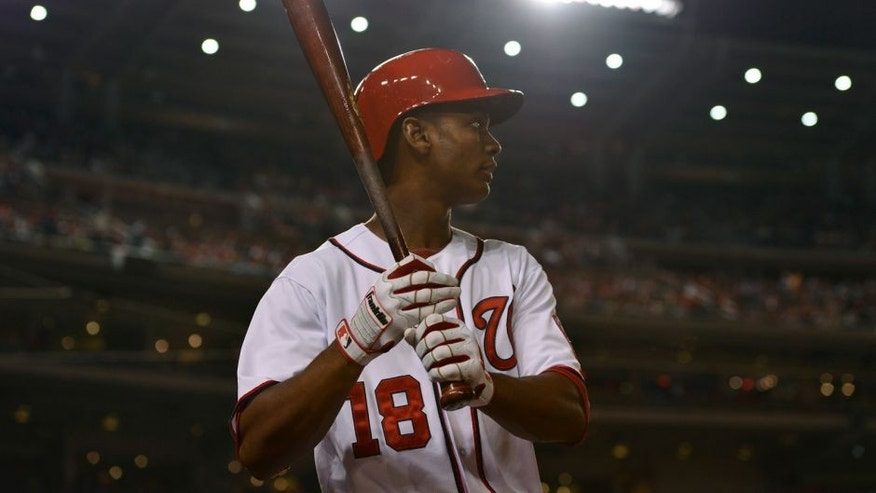 Sep 26, 2014; Washington, DC, USA; Washington Nationals right fielder Michael Taylor (18) stands in the on deck circle during the fourth inning against the Miami Marlins in game two of a baseball doubleheader at Nationals Park. Mandatory Credit: Tommy Gilligan-USA TODAY Sports