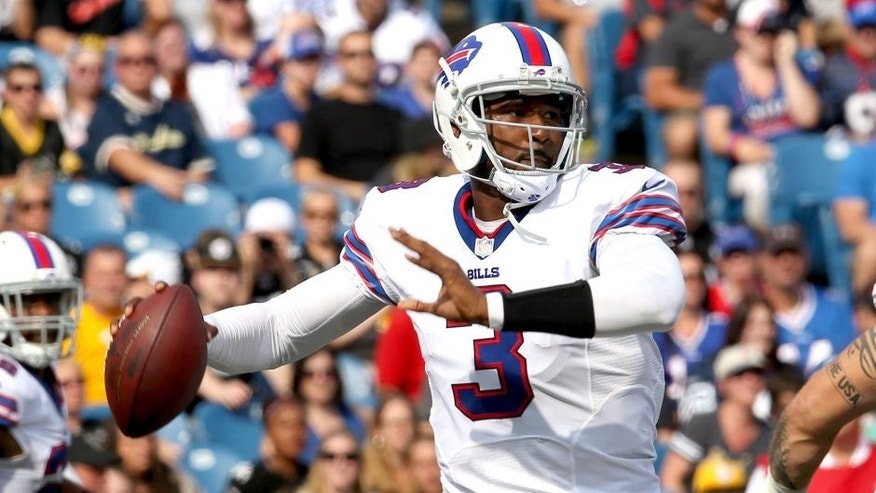 Aug 29, 2015; Orchard Park, NY, USA; Buffalo Bills quarterback EJ Manuel (3) looks to throw a pass during the first half against the Pittsburgh Steelers at Ralph Wilson Stadium. Mandatory Credit: Timothy T. Ludwig-USA TODAY Sports