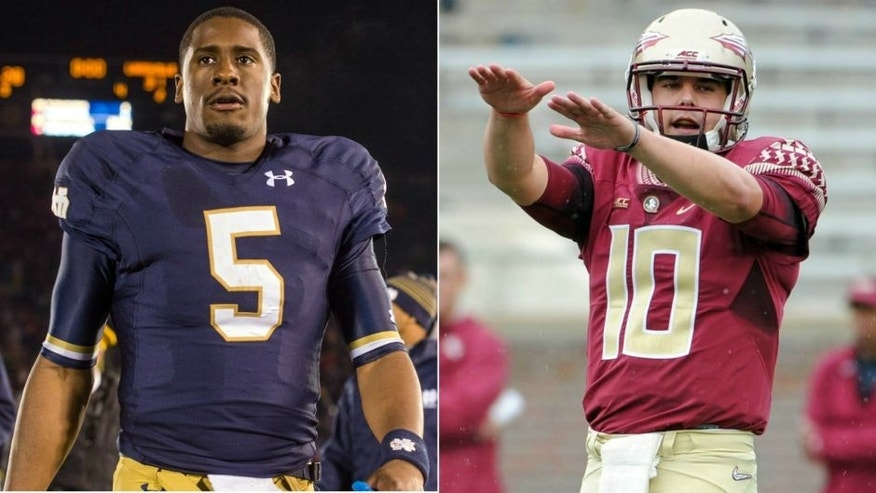 <p>Everett Golson (left) and Sean Maguire</p>