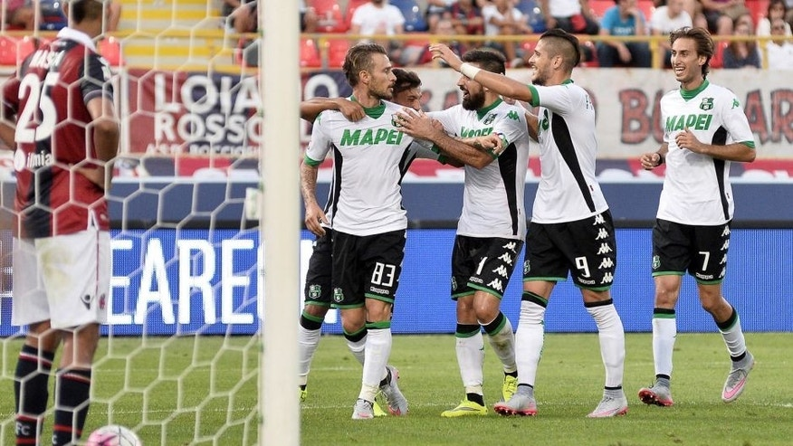 BOLOGNA, ITALY - AUGUST 29: Antonio Floro Flores # 83 of US Sassuolo Calcio celebrates with his teamates after scoring a goal during the Serie A match between Bologna FC and US Sassuolo Calcio at Stadio Renato Dall'Ara on August 29, 2015 in Bologna, Italy. (Photo by Mario Carlini / Iguana Press/Getty Images)