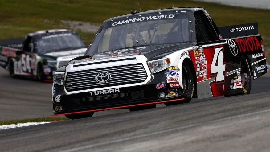 BOWMANVILLE, ON - AUGUST 29: Erik Jones, driver of the #4 Toyota Toyota, drives at Canadian Tire Motorsport Park on August 29, 2015 in Bowmanville, Ontario, Canada. (Photo by Jeff Zelevansky/NASCAR via Getty Images)