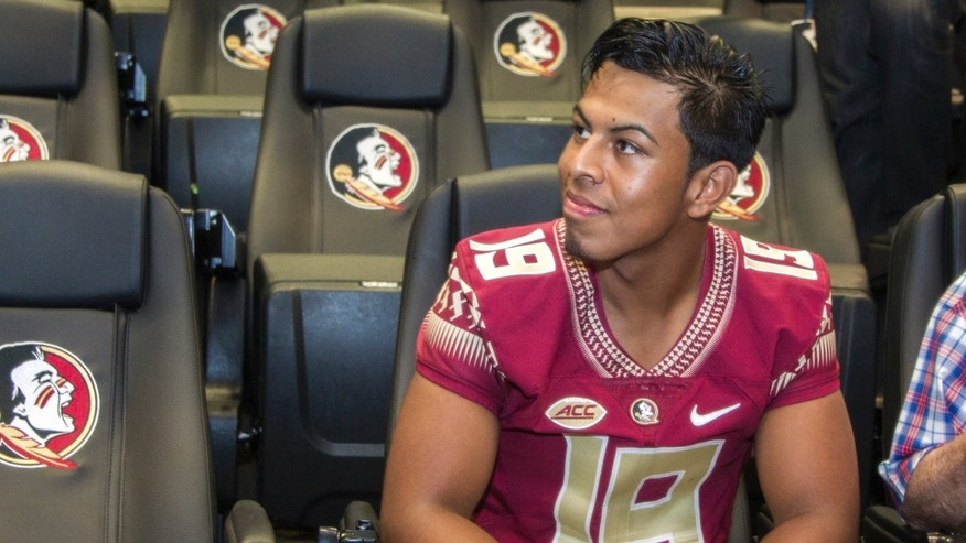 Florida State kicker Roberto Aguayo attends NCAA college football media day  in Tallahassee, Fla., Sunday, Aug. 9, 2015.  (AP Photo/Mark Wallheiser)