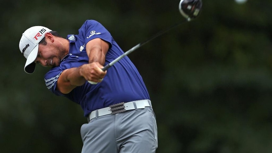 Jason Day, of Australia, tees off on the fifth hole during the final round of play at The Barclays golf tournament Sunday, Aug. 30, 2015, in Edison, N.J. (AP Photo/Adam Hunger)