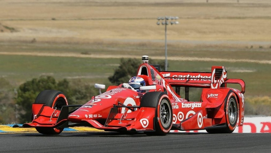 Scott Dixon competes during the IndyCar Grand Prix of Sonoma auto race Sunday, Aug. 30, 2015, in Sonoma, Calif. (AP Photo/Eric Risberg)
