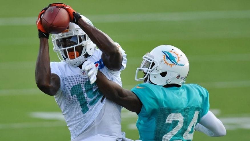 Aug 11, 2015; Davie, FL, USA; Miami Dolphins wide receiver Michael Preston (19) hauls in a catch in front of Miami Dolphins corner back Brice McCain (24) during training camp at Doctors Hospital Training Facility. Mandatory Credit: Steve Mitchell-USA TODAY Sports