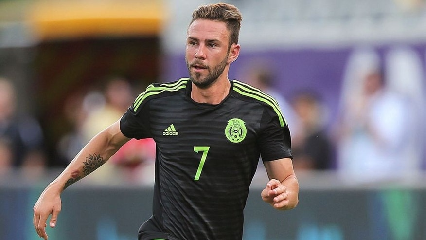 ORLANDO, FL - JUNE 27: Miguel Layun #7 of Mexico dribbles the ball during an international friendly soccer match between Mexico and Costa Rica at the Orlando Citrus Bowl on June 27, 2015 in Orlando, Florida. The game ended in a 2-2 draw. (Photo by Alex Menendez/Getty Images)