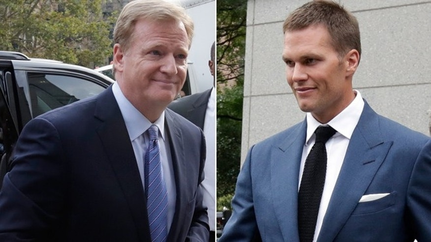 "NFL Commissioner Roger Goodell, left, and New England Patriots quarterback Tom Brady were unable to reach a settlement in the ""Deflategate"" scandal."