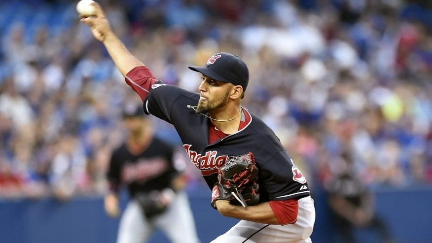 <p>Cleveland Indians' starting pitcher Danny Salazar works against the Toronto Blue Jays during the first inning of a baseball game, Monday, Aug. 31, 2015 in Toronto.</p>