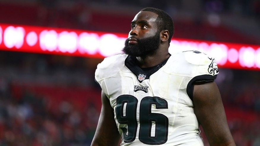 <p>Oct 26, 2014; Glendale, AZ, USA; Philadelphia Eagles defensive tackle Bennie Logan (96) against the Arizona Cardinals at University of Phoenix Stadium. The Cardinals defeated the Eagles 24-20. Mandatory Credit: Mark J. Rebilas-USA TODAY Sports</p>