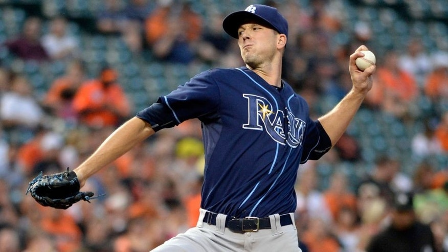 Sep 1, 2015; Baltimore, MD, USA; Tampa Bay Rays starting pitcher Drew Smyly (33) pitches during the first inning against the Baltimore Orioles at Oriole Park at Camden Yards. Mandatory Credit: Tommy Gilligan-USA TODAY Sports