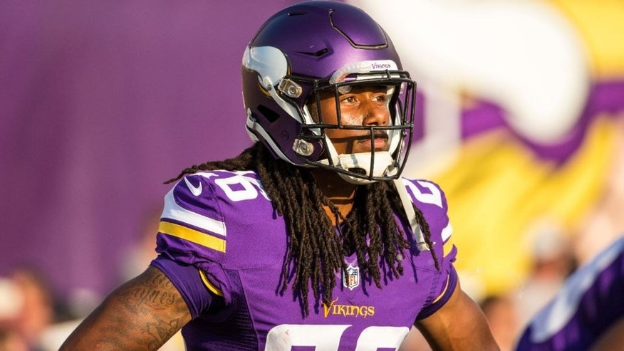 Aug 15, 2015; Minneapolis, MN, USA; Minnesota Vikings cornerback Trae Waynes (26) looks on prior to a preseason NFL football game against the Tampa Bay Buccaneers at TCF Bank Stadium. Mandatory Credit: Brace Hemmelgarn-USA TODAY Sports