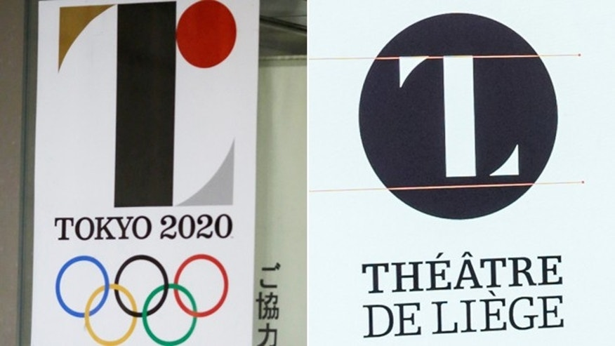 The official emblem for the 2020 Tokyo Olympics and Belgian designer Olivier Debie's logo for the Theatre de Liege.
