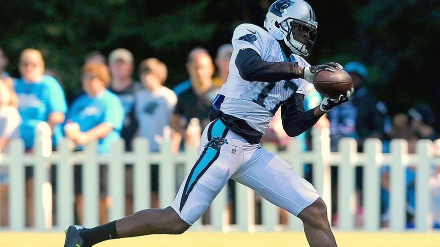 Carolina Panthers wide receiver Devin Funchess catches a pass during practice on Sunday, August 2, 2015, at Wofford College in Spartanburg, S.C. (Jeff Siner/Charlotte Observer/TNS via Getty Images)