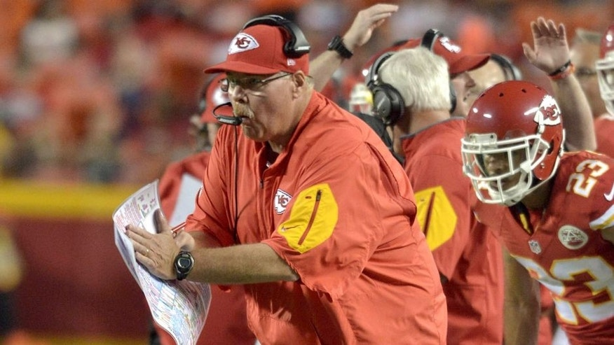 Aug 28, 2015; Kansas City, MO, USA; Kansas City Chiefs head coach Andy Reid reacts to play against the Tennessee Titans during the first half at Arrowhead Stadium. Mandatory Credit: Denny Medley-USA TODAY Sports