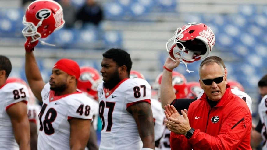 Nov 8, 2014; Lexington, KY, USA; Georgia Bulldogs head coach Mark Richt before the game against the Kentucky Wildcats at Commonwealth Stadium. Mandatory Credit: Mark Zerof-USA TODAY Sports