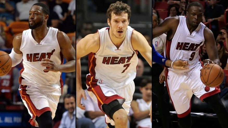 <p>From left: Dwyane Wade, Goran Dragic and Loul Deng of the Miami Heat.<br> </p>