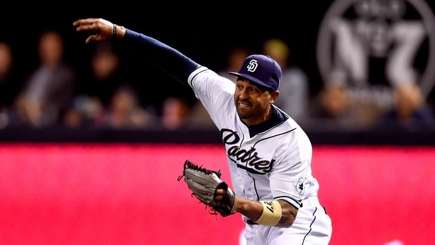 SAN DIEGO, CA - MAY 15: Matt Kemp #27 of the San Diego Padres makes a throw from right field during the game against the Washington Nationals at Petco Park on May 15, 2015 in San Diego, California. (Photo by Andy Hayt/San Diego Padres/Getty Images)