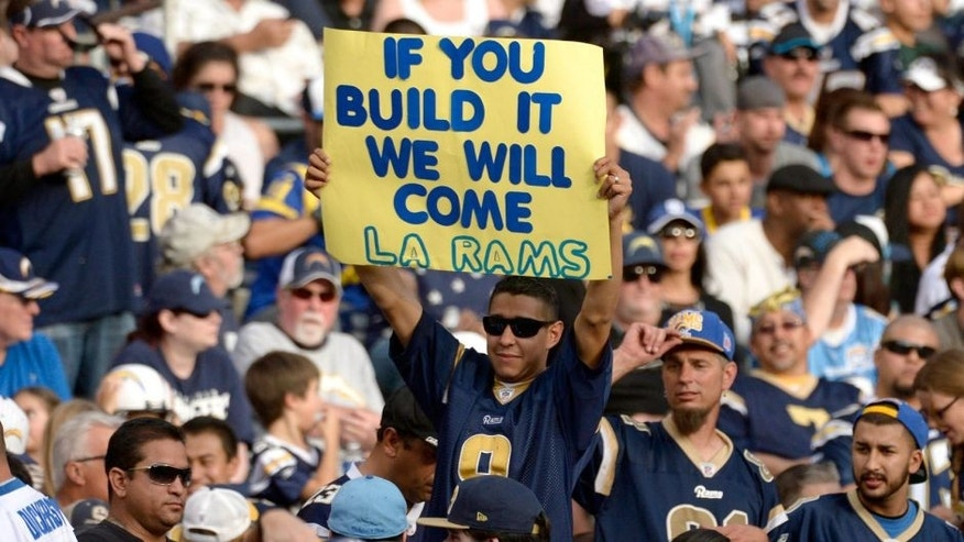 Nov 23, 2014; San Diego, CA, USA; A hopeful Rams fan pleads for a stadium in Los Angeles during the Rams' game against the San Diego Chargers at Qualcomm Stadium. Mandatory Credit: Robert Hanashiro-USA TODAY Sports