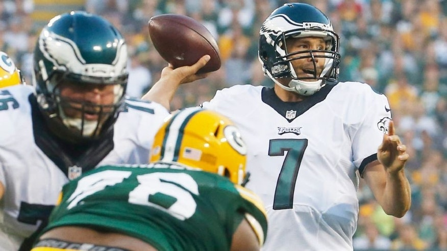 <p>Philadelphia Eagles quarterback Sam Bradford throws during the first half of an NFL football game against the Green Bay Packers Saturday, Aug. 29, 2015, in Green Bay, Wis. (AP Photo/Mike Roemer)</p>