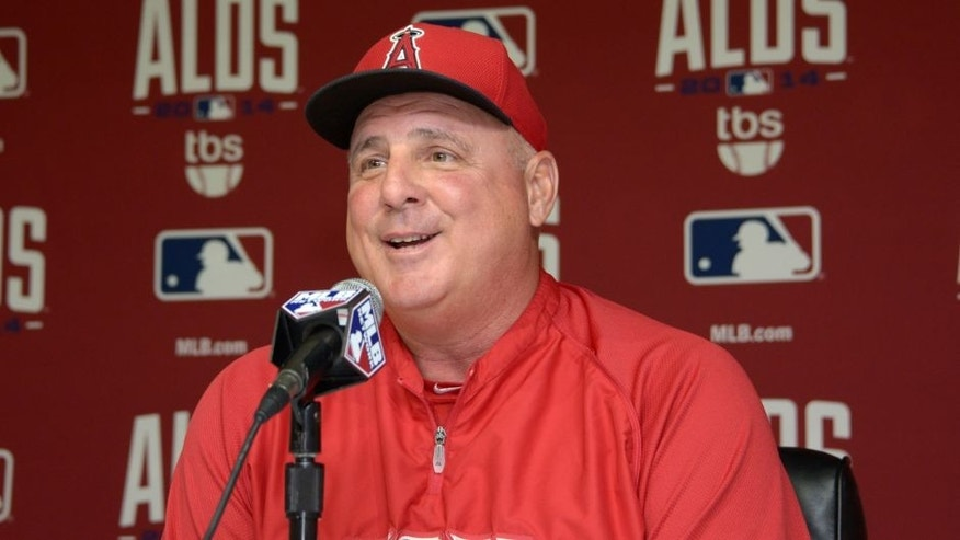 Oct 1, 2014; Anaheim CA, USA; Los Angeles Angels manager Mike Scioscia during press conference in advance of game 1 of the 2014 American League Divisional Series against the Kansas City Royals at Angel Stadium of Anaheim. Mandatory Credit: Kirby Lee-USA TODAY Sports