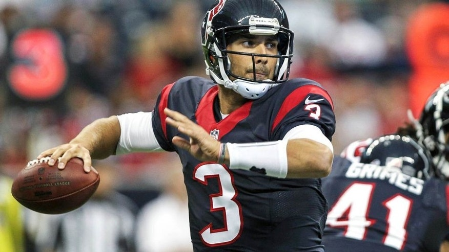 Aug 16, 2014; Houston, TX, USA; Houston Texans quarterback Tom Savage (3) attempts a pass during the second quarter against the Atlanta Falcons at NRG Stadium. Mandatory Credit: Troy Taormina-USA TODAY Sports