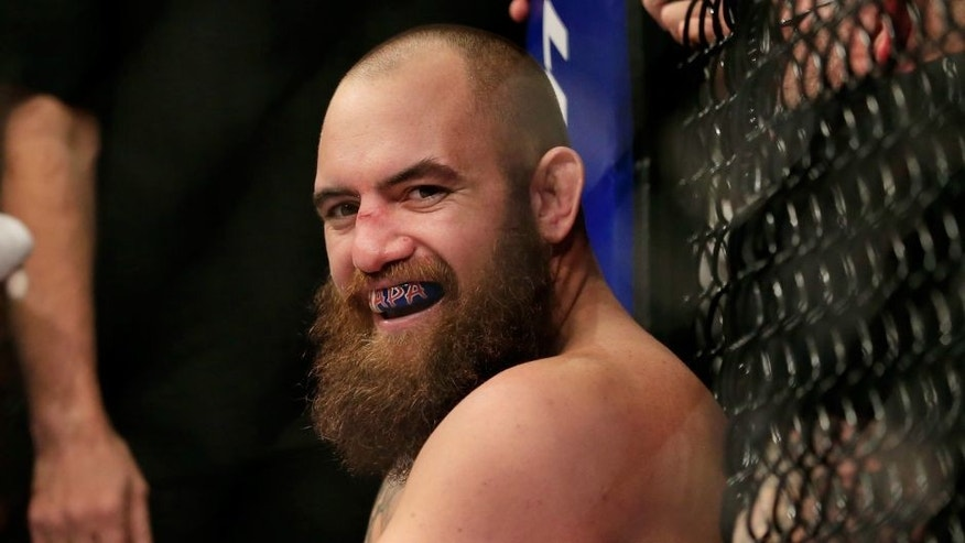 LAS VEGAS, NV - DECEMBER 06: Travis Browne reacts after defeating Brendan Schaub in their fight during the UFC 181 event at the Mandalay Bay Events Center on December 6, 2014 in Las Vegas, Nevada. (Photo by Alex Trautwig/Getty Images)