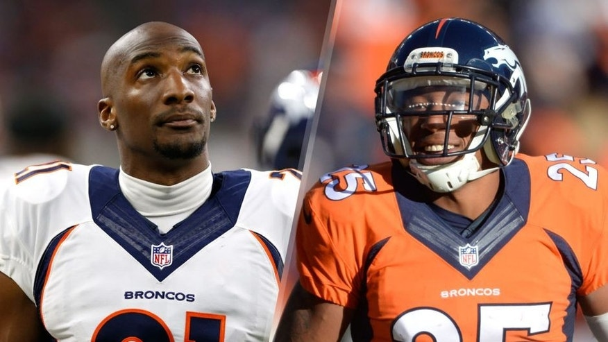Aug 22, 2015; Houston, TX, USA; Denver Broncos cornerback Aqib Talib (21) prior to the game against the Houston Texans at NRG Stadium. Mandatory Credit: Matthew Emmons-USA TODAY Sports Dec 28, 2014; Denver, CO, USA; Denver Broncos cornerback Chris Harris Jr.(25) reacts during the game against the Oakland Raiders in the first quarter at Sports Authority Field at Mile High. Mandatory Credit: Ron Chenoy-USA TODAY Sports