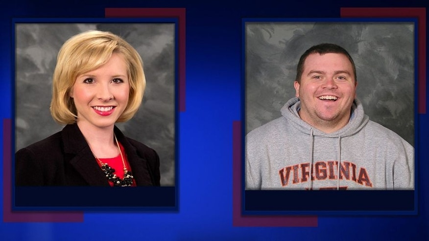 <p>This undated photo provided by WDBJ-TV, in Roanoke, Va., shows station reporter Alison Parker, left, and cameraman Adam Ward. Ward and Parker were fatally shot on-air Wednesday, Aug. 26, 2015, by a former staffer in Moneta, Va. (WDBJ-TV via AP)</p>
