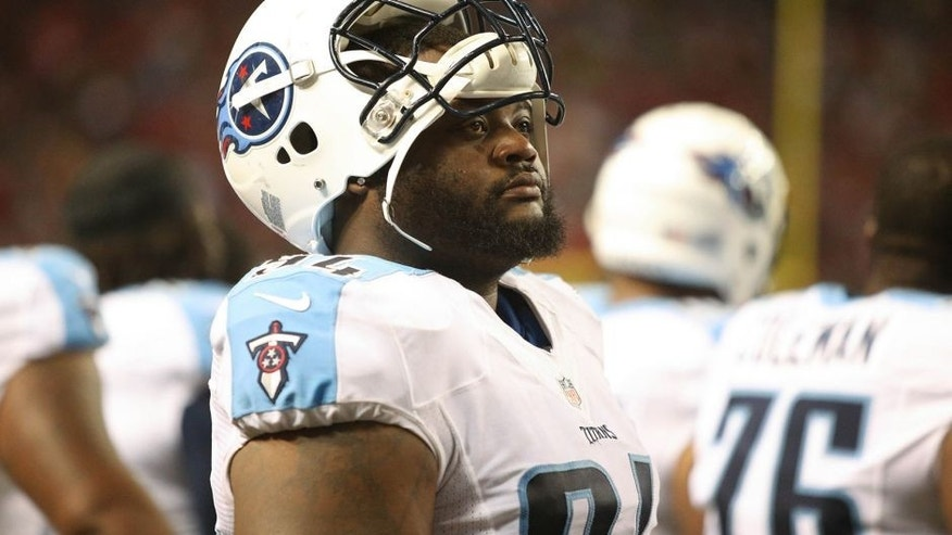 Aug 23, 2014; Atlanta, GA, USA; Tennessee Titans defensive tackle Sammie Lee Hill (94) is shown on the sideline during their game against the Atlanta Falcons at the Georgia Dome. The Titans won 24-17. Mandatory Credit: Jason Getz-USA TODAY Sports