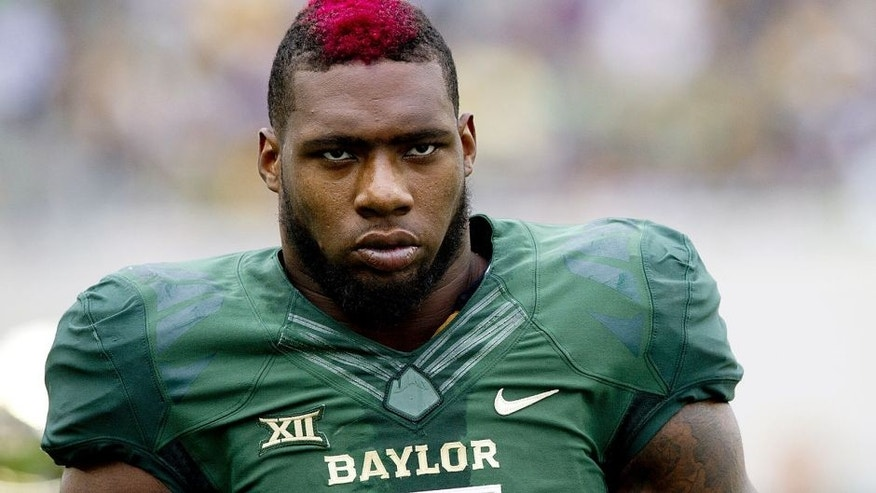 WACO, TX - OCTOBER 11: Shawn Oakman #2 of the Baylor Bears looks on against the TCU Horned Frogs on October 11, 2014 at McLane Stadium in Waco, Texas. (Photo by Cooper Neill/Getty Images)