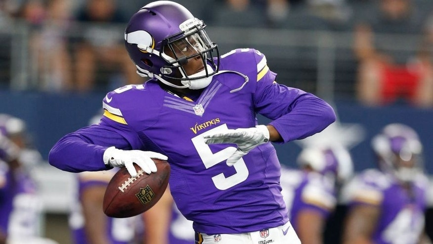 <p>Aug 29, 2015; Arlington, TX, USA; Minnesota Vikings quarterback Teddy Bridgewater (5) throws prior to the game against the Dallas Cowboys at AT&T Stadium. Mandatory Credit: Matthew Emmons-USA TODAY Sports</p>