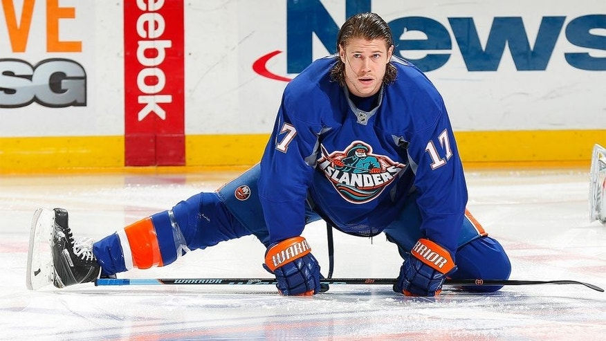 UNIONDALE, NY - FEBRUARY 03: Matt Martin #17 of the New York Islanders skates during warmups in the fisherman uniform prior to the game against the Florida Panthers at Nassau Veterans Memorial Coliseum on February 3, 2015 in Uniondale, New York. (Photo by Mike Stobe/NHLI via Getty Images)