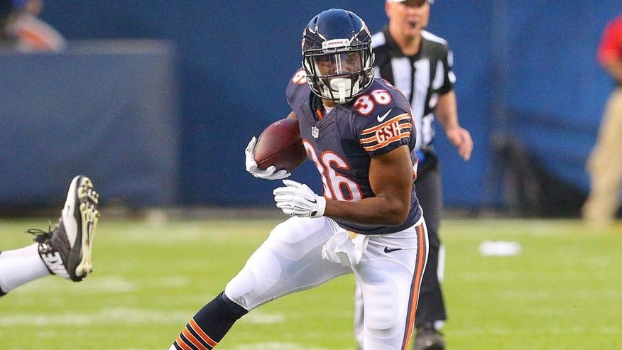Aug 13, 2015; Chicago, IL, USA; Chicago Bears running back Jeremy Langford (36) with the ball during the second quarter of a preseason NFL football game against the Miami Dolphins at Soldier Field. Mandatory Credit: Dennis Wierzbicki-USA TODAY Sports