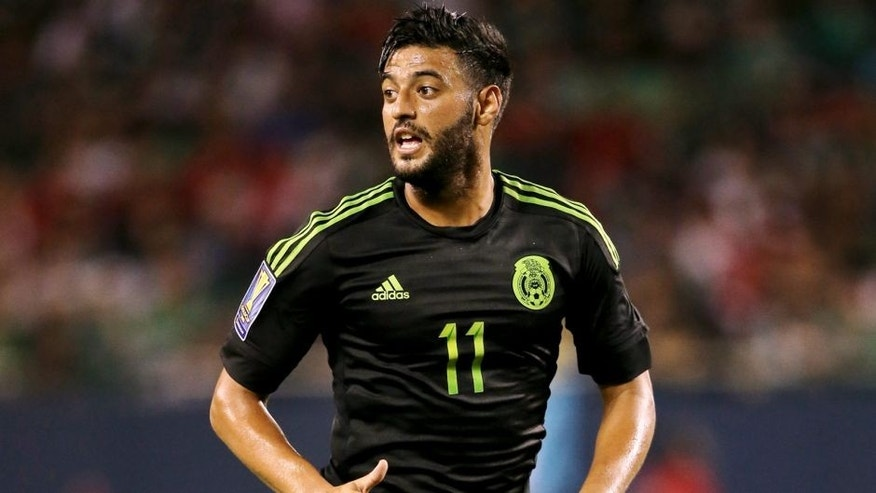 CHICAGO, IL - JULY 09: Carlos Vela of Mexico during the CONCACAF Gold Cup match between Mexico and Cuba at Soldier Field on July 9, 2015 in Chicago, Illinois. (Photo by Matthew Ashton - AMA/Getty Images)