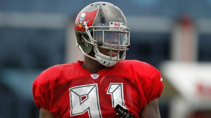 Jul 28, 2014; Tampa, FL, USA; Tampa Bay Buccaneers defensive end Da'Quan Bowers (91) during training camp at One Buc Place. Mandatory Credit: Kim Klement-USA TODAY Sports
