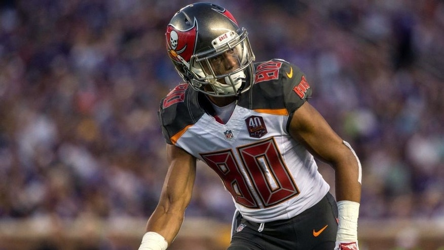 Aug 15, 2015; Minneapolis, MN, USA; Tampa Bay Buccaneers wide receiver Kenny Bell (80) in a preseason NFL football game against the Minnesota Vikings at TCF Bank Stadium. The Vikings defeated the Buccaneers 26-16. Mandatory Credit: Brace Hemmelgarn-USA TODAY Sports