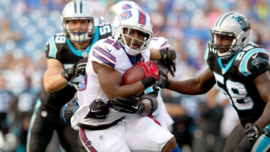 Aug 14, 2015; Orchard Park, NY, USA; Buffalo Bills running back LeSean McCoy (25) runs the ball against the Carolina Panthers during the first quarter in a preseason NFL football game at Ralph Wilson Stadium. Mandatory Credit: Timothy T. Ludwig-USA TODAY Sports