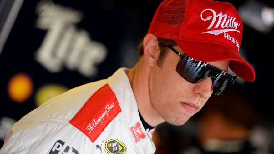 DARLINGTON, SC - SEPTEMBER 04: Brad Keselowski, driver of the #2 Miller Lite Ford, looks on in the garage area during practice for the NASCAR Sprint Cup Series Bojangles' Southern 500 at Darlington Raceway on September 4, 2015 in Darlington, South Carolina. (Photo by Robert Laberge/NASCAR via Getty Images)