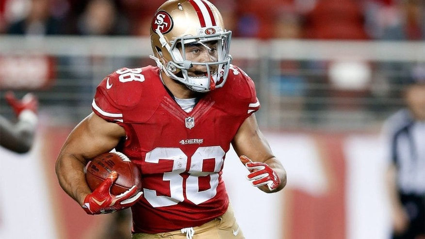 SANTA CLARA, CA - SEPTEMBER 03: Jarryd Hayne #38 of the San Francisco 49ers returns a punt against the San Diego Chargers during their NFL preseason game at Levi's Stadium on September 3, 2015 in Santa Clara, California. (Photo by Ezra Shaw/Getty Images)