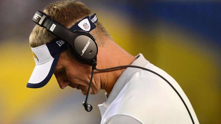 Aug 29, 2015; San Diego, CA, USA; San Diego Chargers head coach Mike McCoy looks on during the fourth quarter against the Seattle Seahawks at Qualcomm Stadium. Mandatory Credit: Jake Roth-USA TODAY Sports