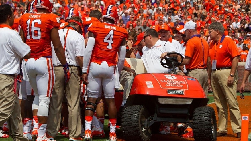 Sep 5, 2015; Clemson, SC, USA; Clemson Tigers teammates see wide receiver Mike Williams (7) off the field as he is loaded onto a stretcher after being injured while scoring a touchdown during the first quarter against the Wofford Terriers at Clemson Memorial Stadium. Mandatory Credit: Joshua S. Kelly-USA TODAY Sports
